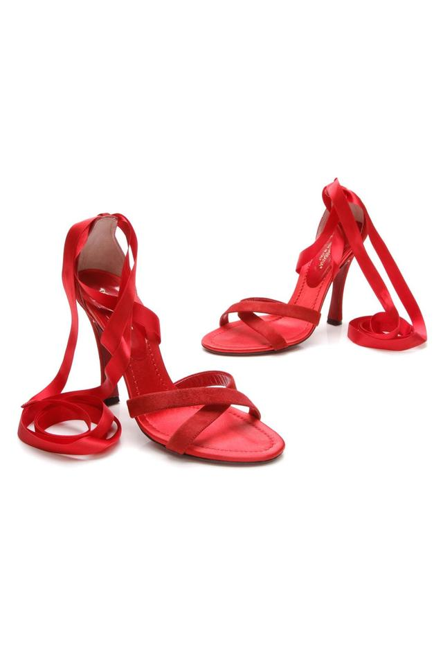 Dolce&Gabbana Red Suede Ribbon Ankle Sandals Wrap Sandals Ankle c86f74