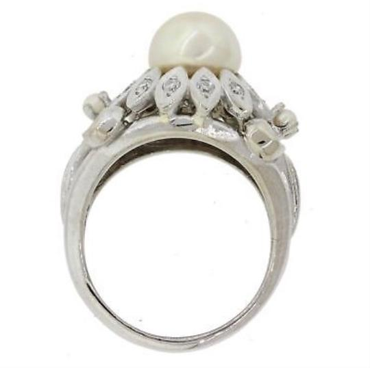 1940 Art Deco Cocktail Ring white gold diamond and pearl cocktail ring