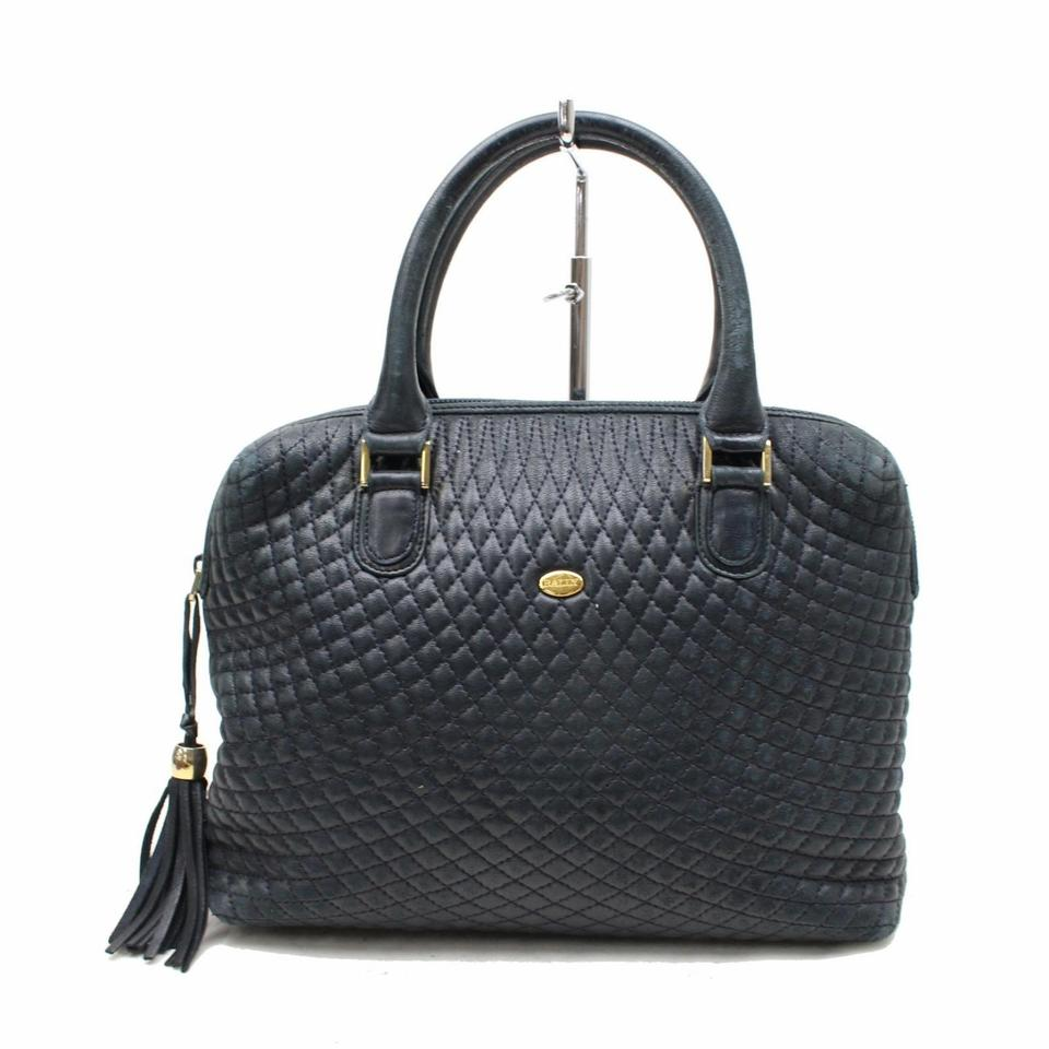Bally Purses Designer Purses Navy Blue Quilted Leather With Gold Accents Satchel Tradesy