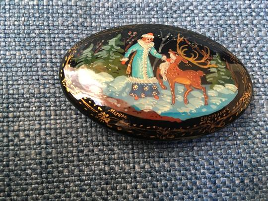Russian painter Hand painted Russian brooch
