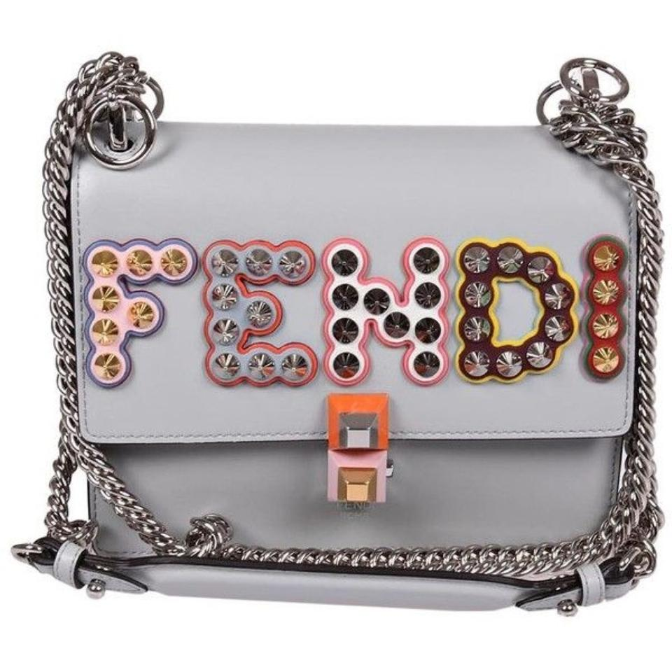 82761d6615 Fendi Kan I Small Studded Logo Pearl Gray Leather Tote 25% off retail