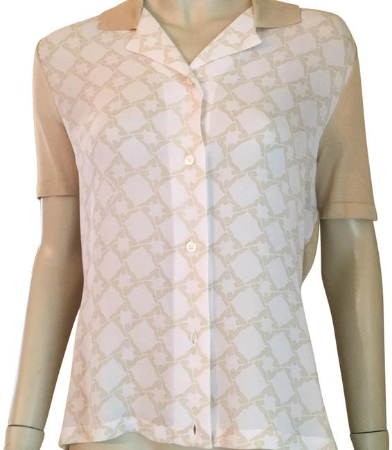 Preload https://item5.tradesy.com/images/salvatore-ferragamo-beige-and-off-white-blouse-size-4-s-23102069-0-1.jpg?width=400&height=650