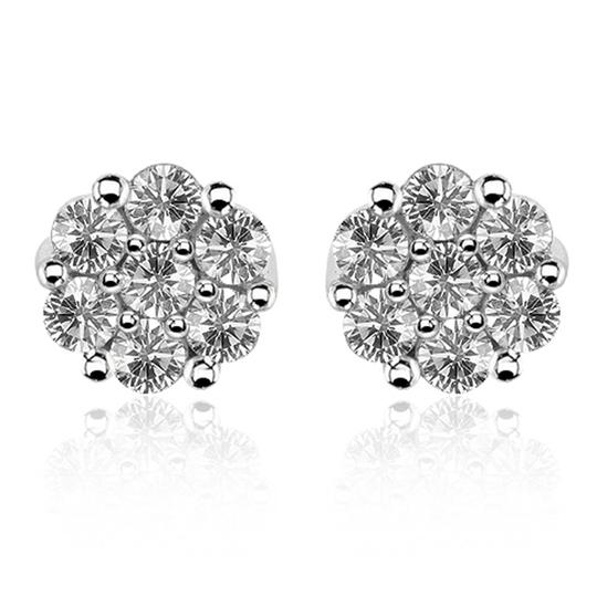 Preload https://img-static.tradesy.com/item/23102132/avital-and-co-jewelry-14k-white-gold-102-carat-round-cut-diamond-cluster-stud-earrings-0-1-540-540.jpg