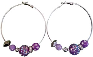 Boutique Large silver hoop earrings with beads