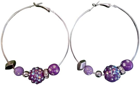 Preload https://img-static.tradesy.com/item/23102139/lavender-and-silver-large-hoop-with-beads-earrings-0-1-540-540.jpg