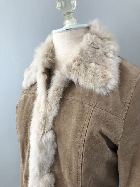 Dona Michi Suede Small Fur Collar brown Leather Jacket