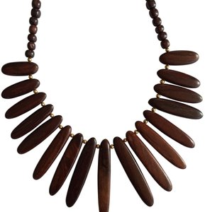 Other Wood & Gold tone Bead Statement Necklace