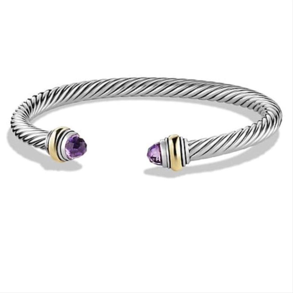 David Yurman Never Worn Amethyst 14k And Sterling Silver Cable Bangle
