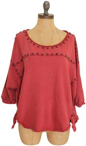Free People Dillon Studded Jersey Vintage T Shirt red