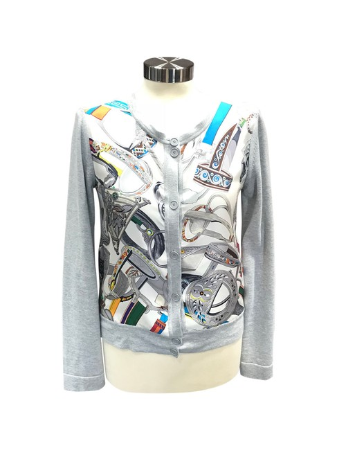 Preload https://item5.tradesy.com/images/hermes-gray-and-white-trim-multicolor-scarf-print-knit-36s-cardigan-size-4-s-23102314-0-0.jpg?width=400&height=650