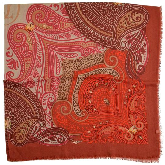 Preload https://item5.tradesy.com/images/cartier-red-paisley-silk-cashmere-shawl-scarfwrap-23102344-0-1.jpg?width=440&height=440