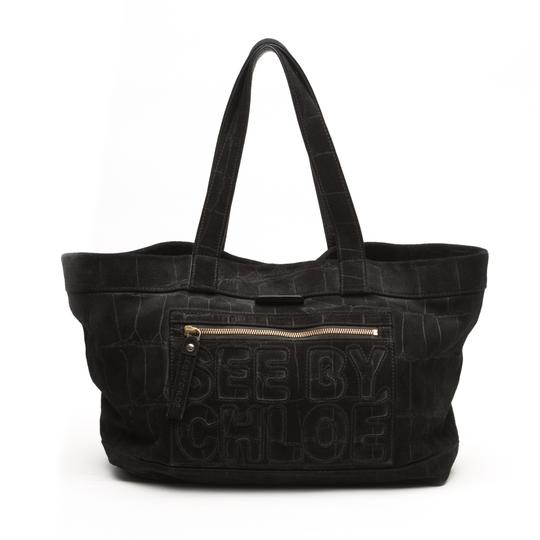 Preload https://img-static.tradesy.com/item/23102376/see-by-chloe-logo-black-suede-leather-tote-0-0-540-540.jpg