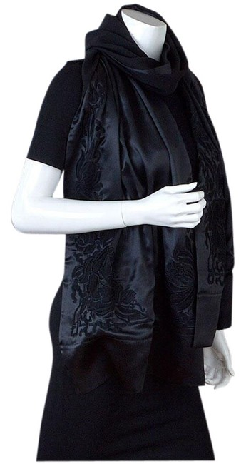Item - Black 8827- Embroidered Beaded Floral Silk Shawl Scarf/Wrap