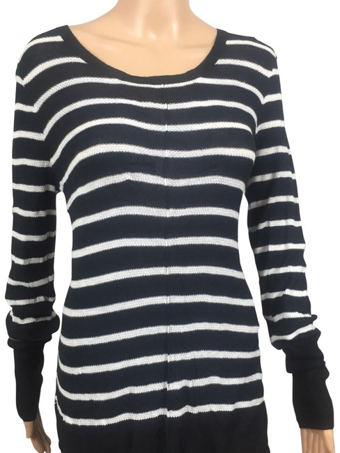 Preload https://img-static.tradesy.com/item/23102447/black-and-ivory-striped-lace-up-sweaterpullover-size-12-l-0-1-650-650.jpg
