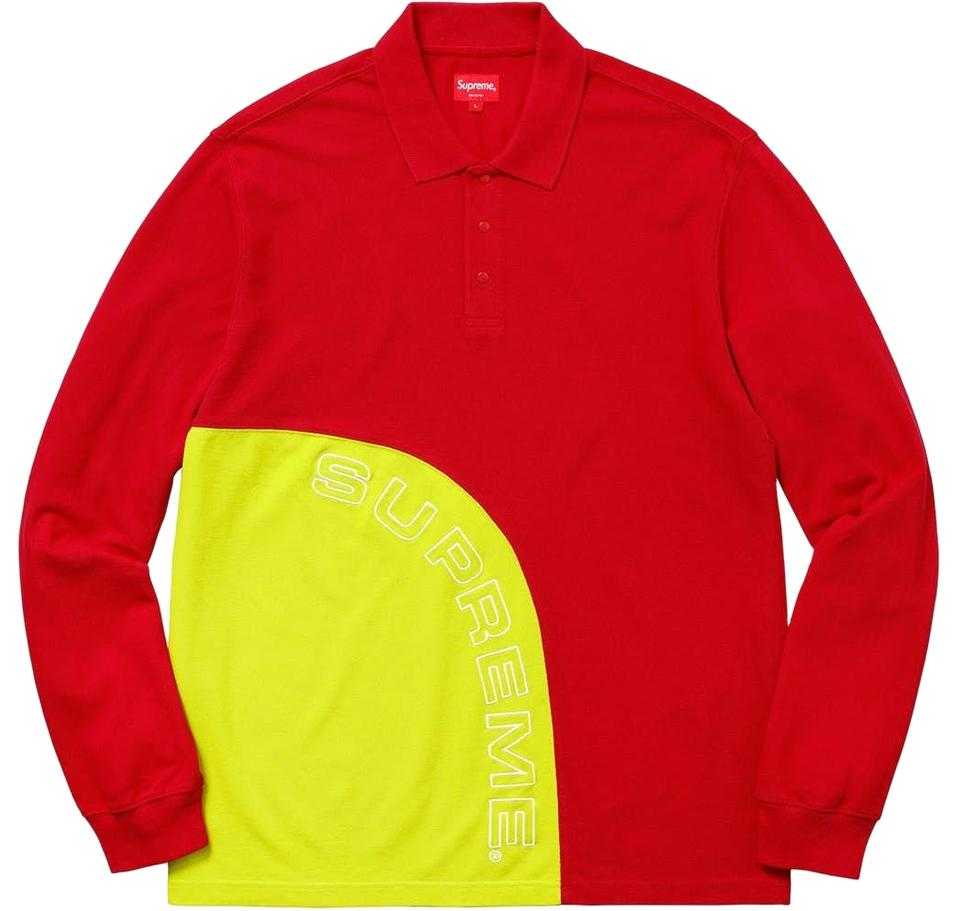 Supreme Red Men s Corner Arc Long Sleeve Polo Large Tee Shirt Size ... fe2cb0698