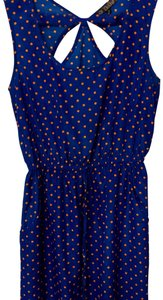 BeBop short dress blue with orange polka dots on Tradesy