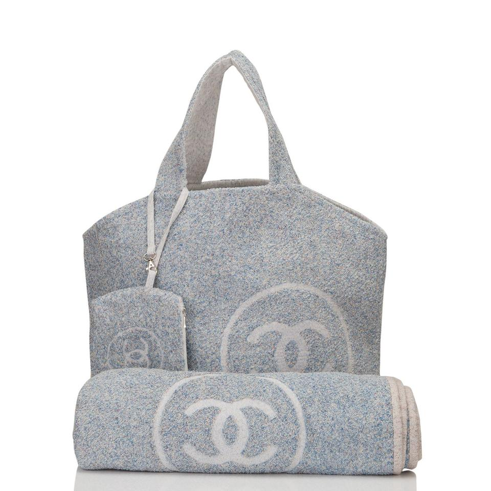 Chanel Towel: Chanel Tote & Towel Set Blue Cotton Beach Bag