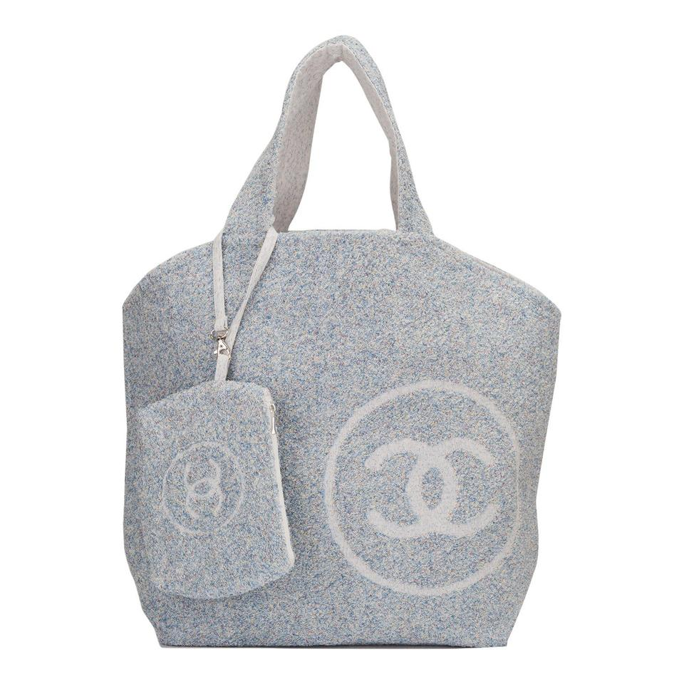 Chanel Tote Amp Towel Set Blue Cotton Beach Bag Tradesy
