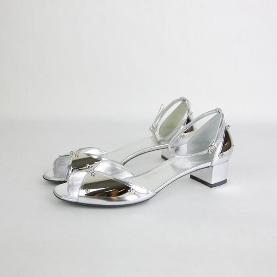 Gucci Leather Heel Silver Sandals