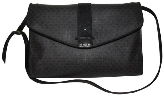 Preload https://item3.tradesy.com/images/liz-claiborne-vintage-pursesdesigner-purses-shades-of-black-and-grey-logo-print-coated-canvas-and-bl-23102602-0-1.jpg?width=440&height=440
