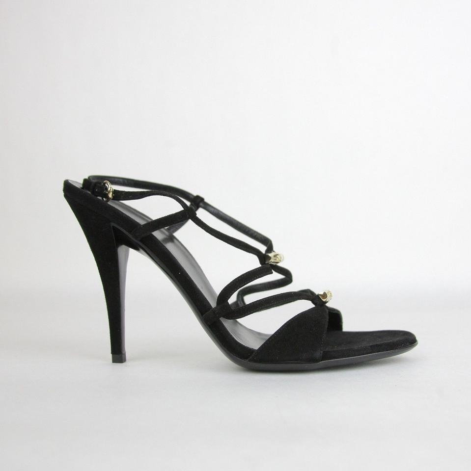 177c344a4d72 Gucci Black Suede Heel W Light Gold Bamboo Details 190463 Sandals ...