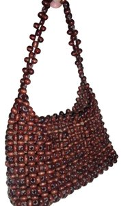 Marcus Brothers Vintage Wood Beads Bohemian Dark Lined Satchel in Brown