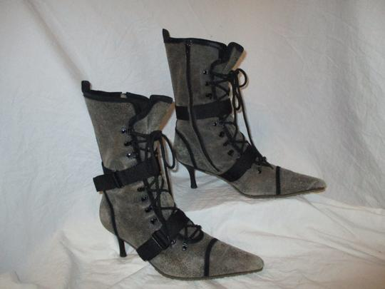 Diesel Distressed Leather Lace Up grey & black Boots