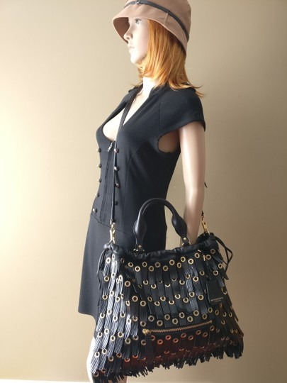 Burberry Leather Crossbody Big Crish Calf Hair Tote in Black