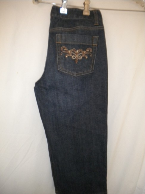 Ann Taylor Dark Wash Embroidered Modern Fit Lindsay Waist Bermuda Shorts Blue