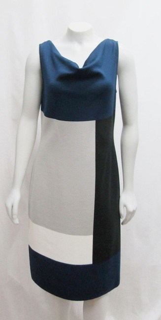 St. John Sheath Cowl Color-blocking Milano Dress