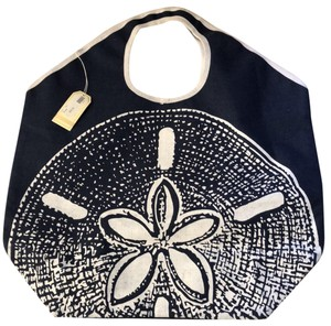 Mudpie navy blue and white Beach Bag
