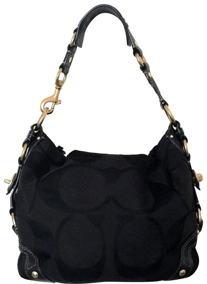 e062cc8f Coach Carly Signature Logo Boutique Black Jacquard with Leather Trim Hobo  Bag 59% off retail