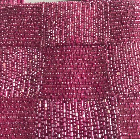 Pierre Urbach Hand Beaded Wedding Purse Prom Purse Special Occasion Satchel in Fuchsia