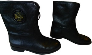 Tory Burch Leather Ankle Pull On Gold Logo Black Boots