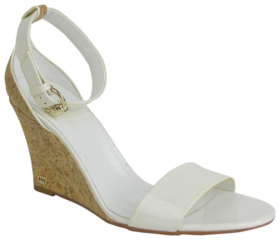 572449841f1018 Gucci White Patent Leather Cork Wedge Heel 9b 213217 9066 Sandals ...