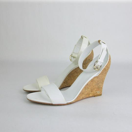Gucci Patent Leather Cork White Sandals