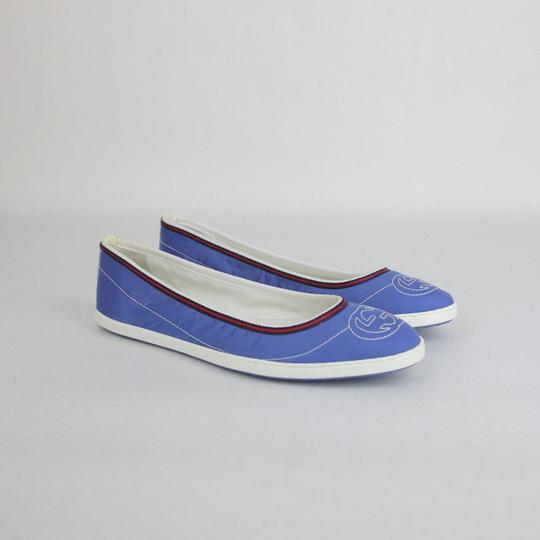 Gucci Nylon Brb Web Interlocking G Blue Flats