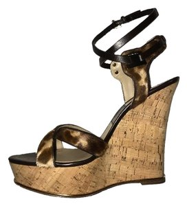 Michael Kors brown, black and tan Wedges