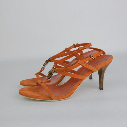 Gucci Suede Heel Orange Sandals