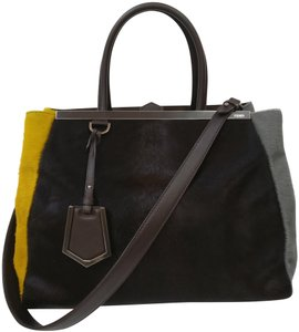 Fendi 2 Jours Leather Calf Hair Satchel Tote in Black