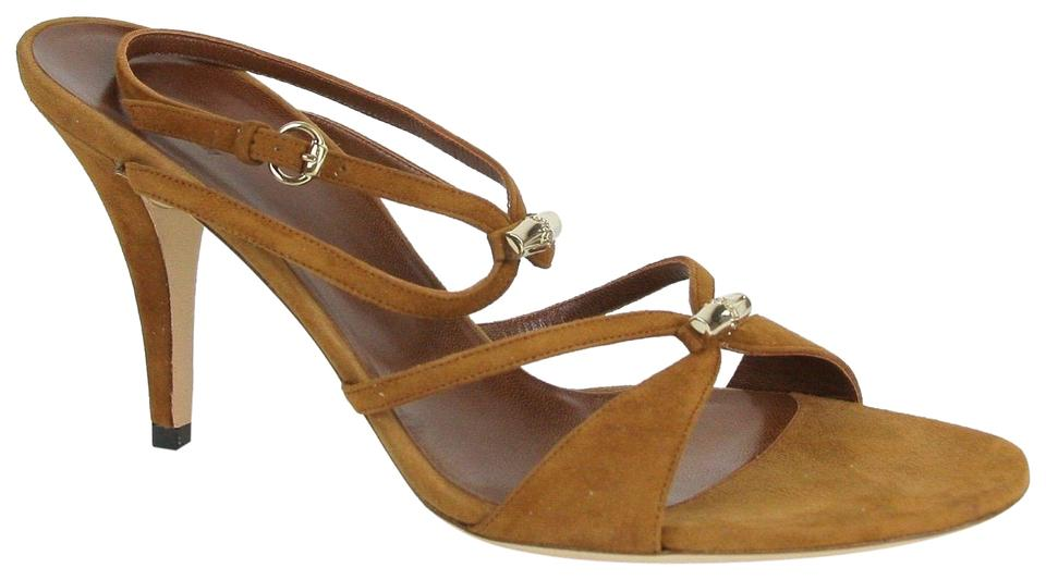 f941c27493c Gucci Brown Suede Heel W Light Gold Bamboo Details 190465 2535 Sandals