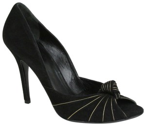 Gucci Women's Suede Gold Black Platforms