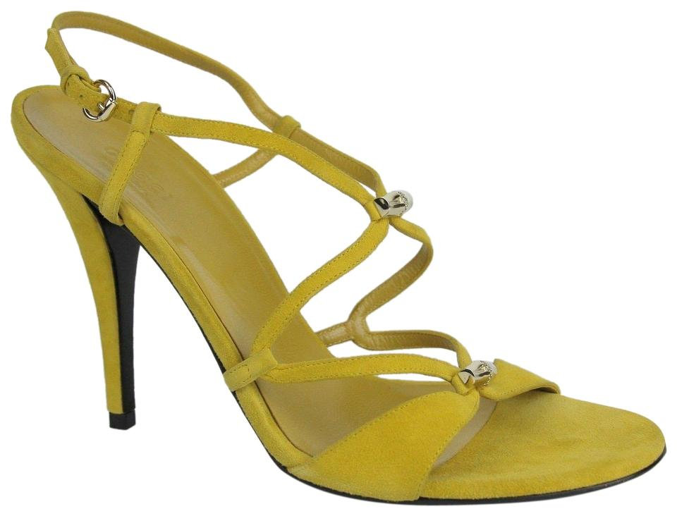 c05e36383681 Gucci Black Yellow Suede Heel W Light Gold Bamboo Details 9b 190463 ...