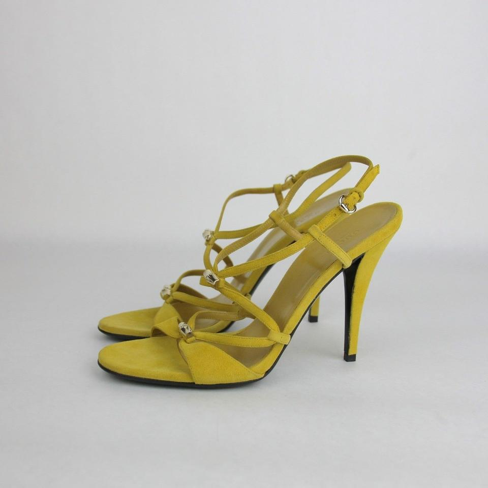 4ddac201a9dc Gucci Black Yellow Suede Heel W Light Gold Bamboo Details 9b 190463 2615  Sandals