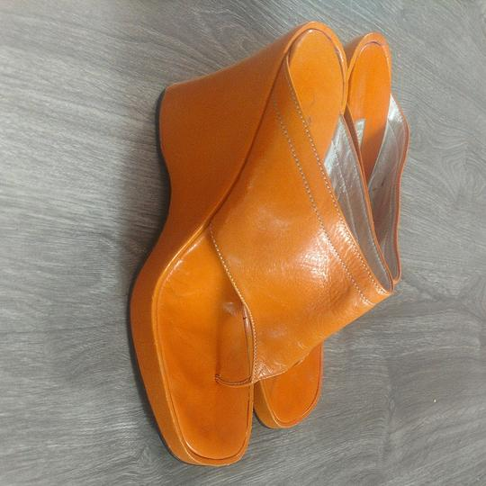 Enrico Coveri Vintage Wedge Italian Orange Sandals
