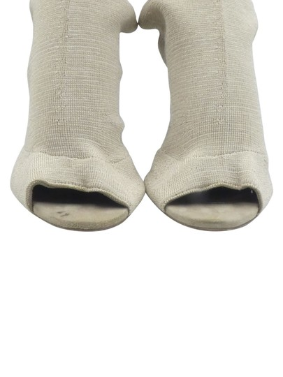 YEEZY Peep Toe Over The Knee Stretchy Knit beige Boots