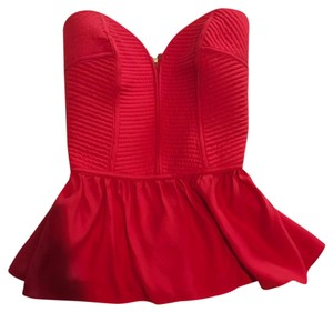 Parker Silk Peplum Strapless Top Red