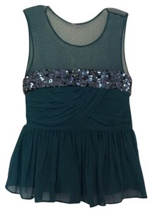 See by Chloé Sequin Peplum Illusion Top Teal