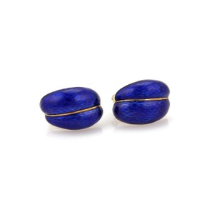 Other Vintage 18k Gold Blue Gullioche Enemal Curved Shell Post Clip Earrings