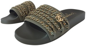 Chanel Chain Slides Khaki Sandals